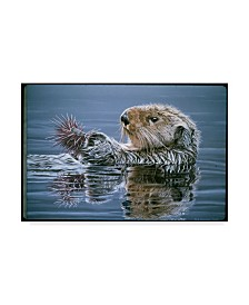 """Ron Parker 'Sea Otter With Urchin' Canvas Art - 12"""" x 19"""""""