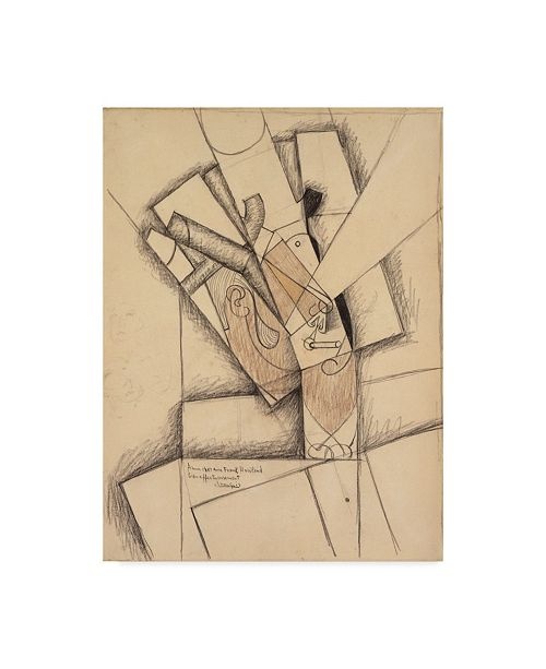 """Trademark Global Juan Gris 'The Smoker, 1913' Canvas Art - 14"""" x 19"""""""