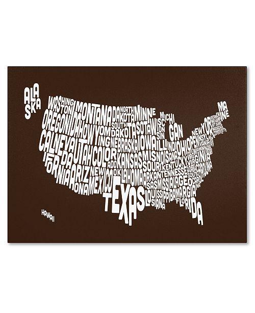 "Trademark Global Michael Tompsett 'CHOCOLATE-USA States Text Map' Canvas Art - 14"" x 19"""