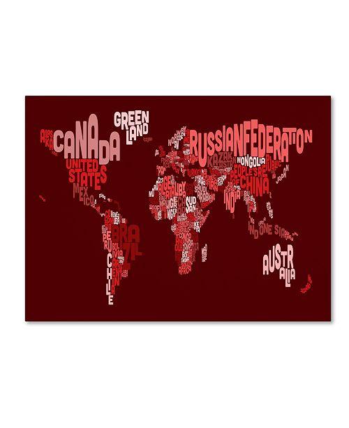 """Trademark Global Michael Tompsett 'World Text Map 3' Canvas Art - 14"""" x 19"""""""