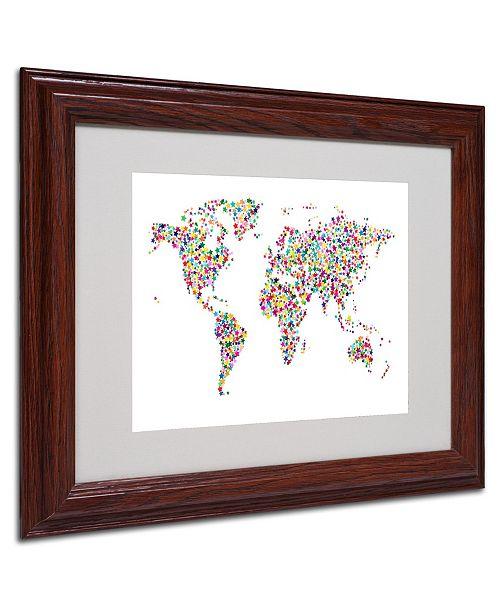 """Trademark Global Michael Tompsett 'Stars World Map' Matted Framed Art - 14"""" x 11"""""""