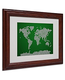 "Michael Tompsett 'Soccer Balls World Map' Matted Framed Art - 14"" x 11"""