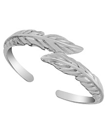 Sterling Silver Feather Bypass Adjustable Toe Ring