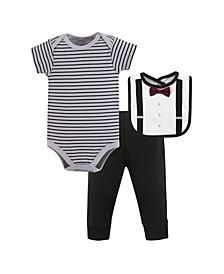 Baby Bodysuit, Pant and Bib, 3 Piece Set