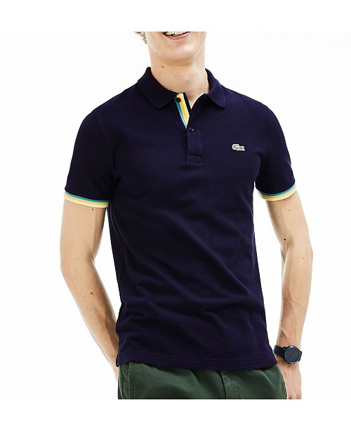 de05669b404 Lacoste Men's Slim-Fit Stripe Sleeve Polo Shirt & Reviews - Polos ...