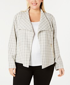 Calvin Klein Plus Size Windowpane Jacquard Flyaway Jacket