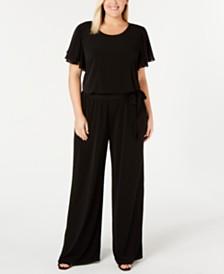 Calvin Klein Plus Size Chiffon-Sleeve Jumpsuit