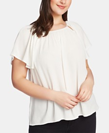 1.STATE Plus Size Cutout Gauze Top