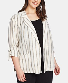 Plus Size Striped Roll-Sleeve Jacket