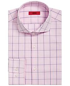 HUGO Men's Slim-Fit Pink/Navy Windowpane Dress Shirt