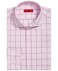 HUGO Hugo Boss Men's Slim-Fit Pink/Navy Windowpane Dress Shirt