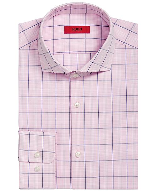 14574752 ... Hugo Boss HUGO Men's Slim-Fit Pink/Navy Windowpane Dress Shirt ...