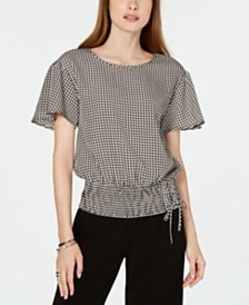 MICHAEL Michael Kors Printed Laced Smocked-Waist Top