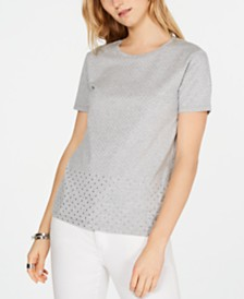 MICHAEL Michael Kors Mini-Studded Cotton T-Shirt