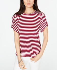 Michael Michael Kors Striped Petal-Sleeve T-Shirt, Regular & Petite