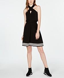 Striped-Hem Halter Dress
