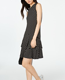 Michael Michael Kors Sliced-Dot Printed Flounce Dress, in Regular & Petite Sizes
