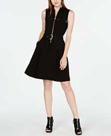 Michael Michael Kors Belted Zip-Front Shirtdress, in Regular & Petite Sizes
