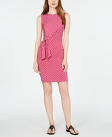 Michael Michael Kors Sliced-Dot Printed Side-Tie Dress, in Regular & Petite Sizes