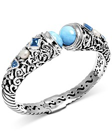 Marahlago Multi-Gemstone Filigree Bangle Bracelet in Sterling Silver