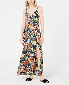 Juniors' Tropical-Print Slit Maxi Dress