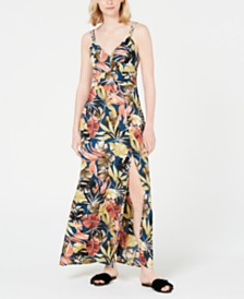 Teeze Me Juniors' Tropical-Print Slit Maxi Dress