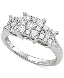 Diamond Triple Cluster Engagement Ring (3/4 ct. t.w.)