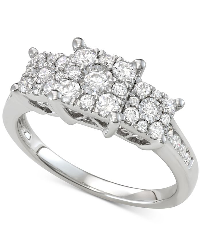 Macy's - Diamond Triple Cluster Engagement Ring (3/4 ct. t.w.)