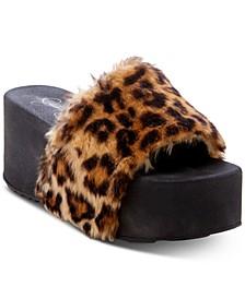 Faille Flatform Slide Sandals