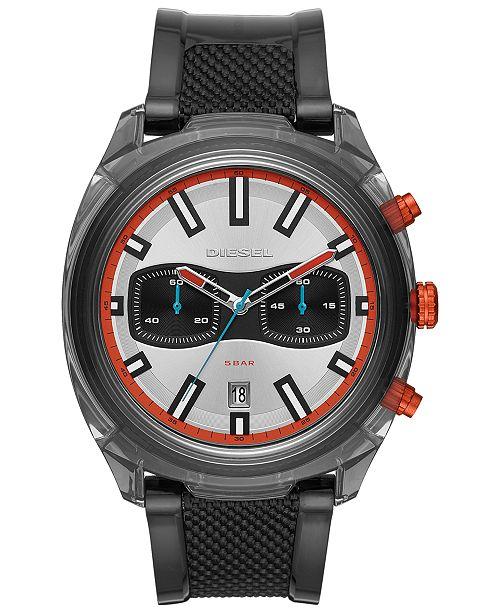 Diesel Men's Chronograph Tumbler Black Polyurethane Strap Watch 48mm