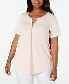 Plus Size Metallic-Trim Keyhole Top, Created For Macy's