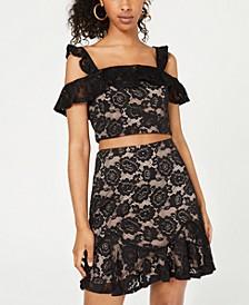 Juniors' 2-Pc. Cold-Shoulder Lace Dress