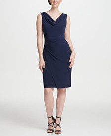 DKNY Cowl Neck Ruched Sheath Dress