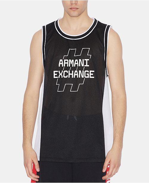 A|X Armani Exchange Men's Hashtag Logo Graphic Mesh Jersey Tank