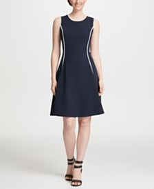 DKNY Piped Fit & Flare Dress