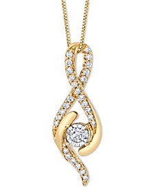 "Diamond Swirl 18"" Pendant Necklace (1/3 ct. t.w.) in 14k Gold and 14k White Gold"