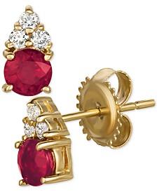Certified Ruby (3/4 ct. t.w.) & Diamond (1/8 ct. t.w.) Earrings in 14k Gold