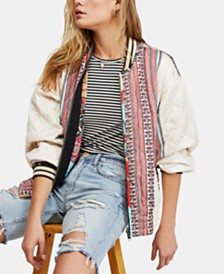 Free People Pandora Mixed Print Bomber Jacket