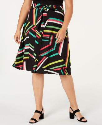 Plus Size Printed A-Line Skirt, Created for Macy's