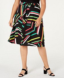 Trendy Plus Size Printed A-Line Skirt, Created for Macy's