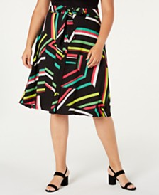 Bar III  Plus Size Printed A-Line Skirt, Created for Macy's