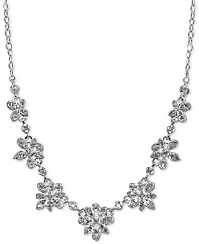 "Cubic Zirconia Floral Cluster Collar Necklace in Sterling Silver, 16"" + 2"" extender, Created for Macy's"