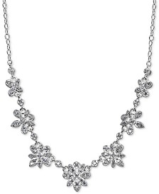 """Giani Bernini Cubic Zirconia Floral Cluster Collar Necklace in Sterling Silver, 16"""" + 2"""" extender, Created for Macy's"""