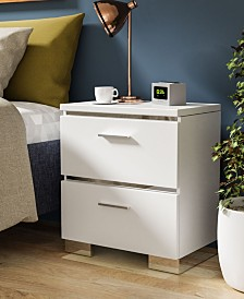 Quaker Glossy 2-Drawer Nightstand with USB Outlet