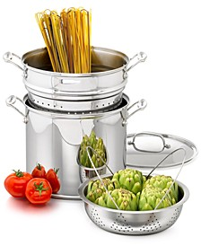 Chef's Classic Stainless Steel 12 Qt. Covered Stockpot with Pasta Insert & Steamer Basket