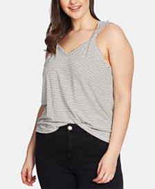 1.STATE Plus Size Striped Twist-Strap Top