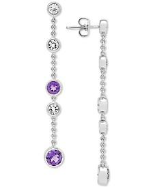 Amethyst (1-9/10 ct. t.w.) & White Topaz (1-1/3 ct. t.w.) Station Drop Earrings in Sterling Silver