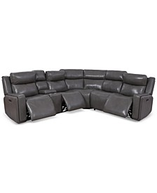 Saran 6-Pc. Leather Sectional Sofa with 3 Power Recliners, Console & USB Port