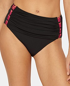 Ruched Strappy-Side High-Waist Bikini Bottoms