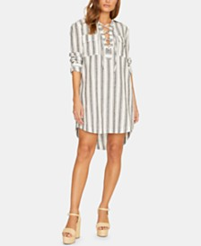 Sanctuary Staycation Striped Lace-Up Dress